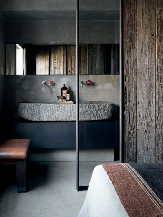 Very nice bathroom with stone sink and wood panel walls