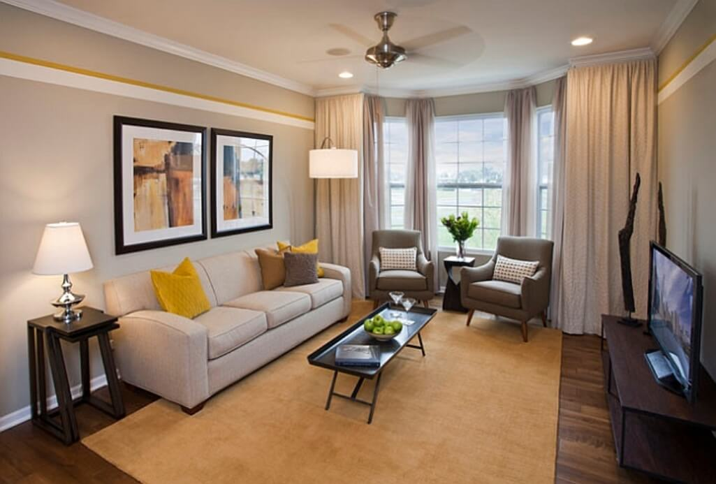 Best 15 gray and yellow living room design ideas https - Wandfarbe lounge ...