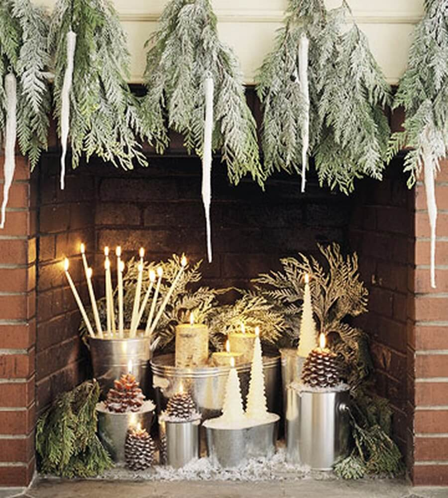 Top 7 christmas decor ideas with candles to warm up your - Decorating inside a fireplace ...