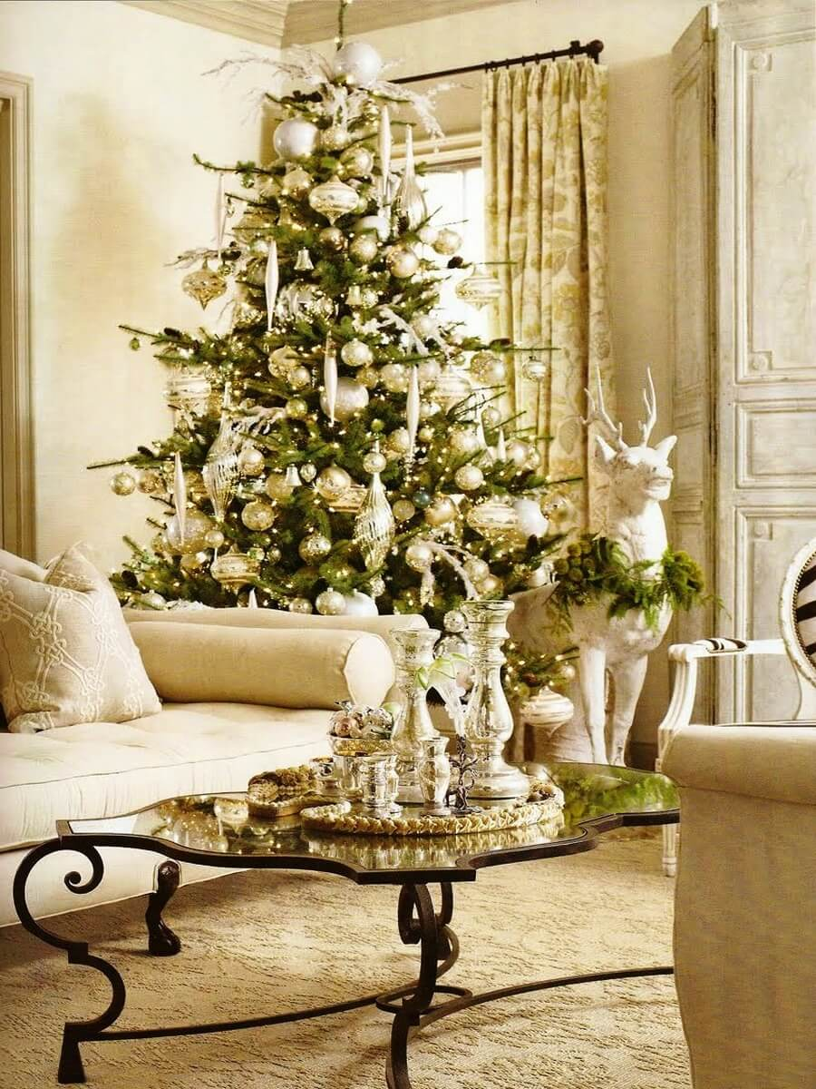 Bright golden living room decorated for Christmas