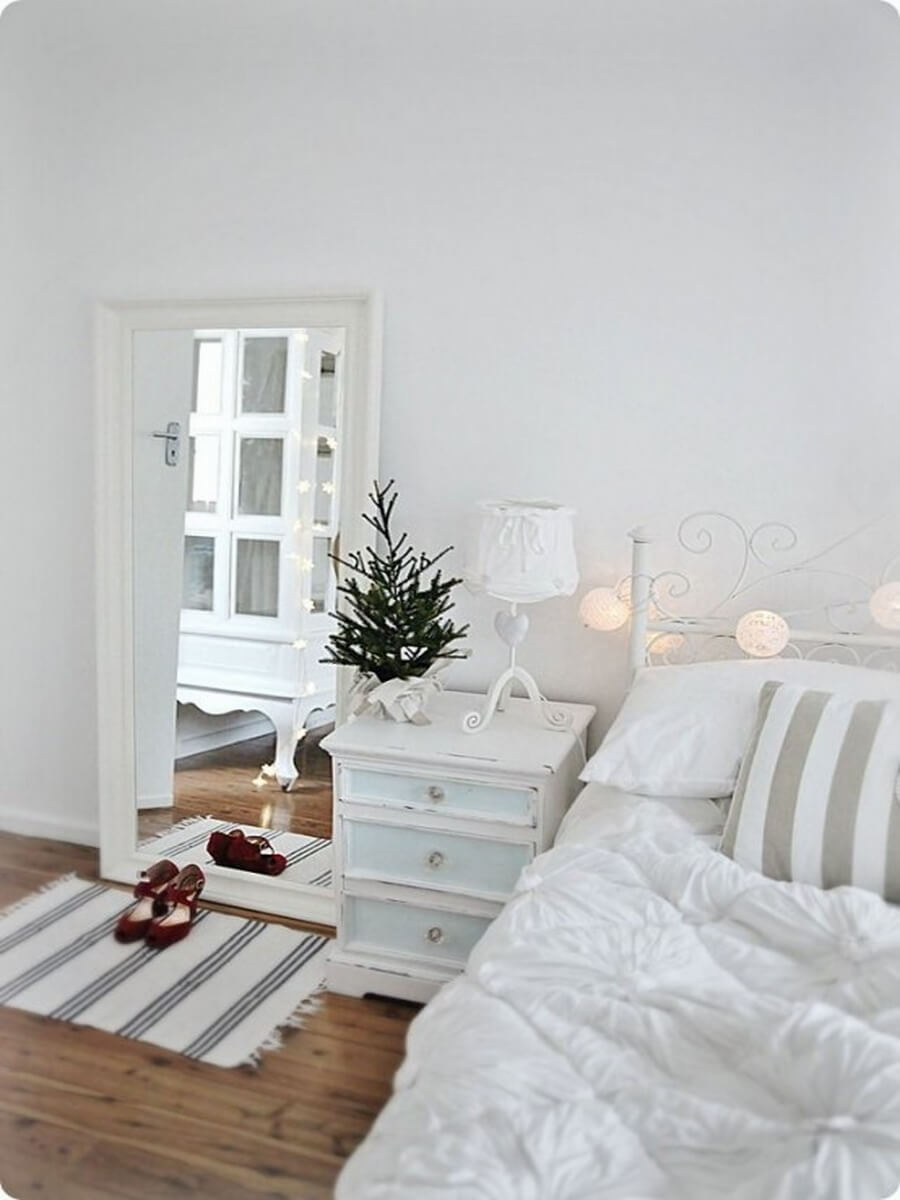 Scandinavian themed holiday bedroom
