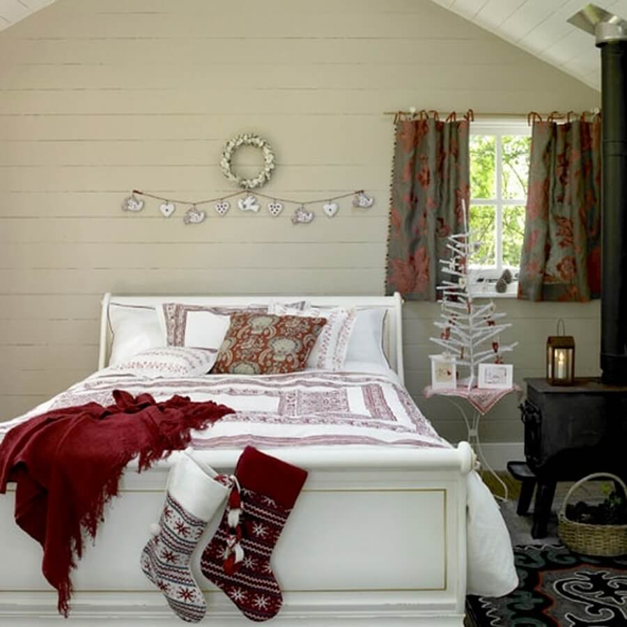 Cozy and simple bedroom decorated for the holidays