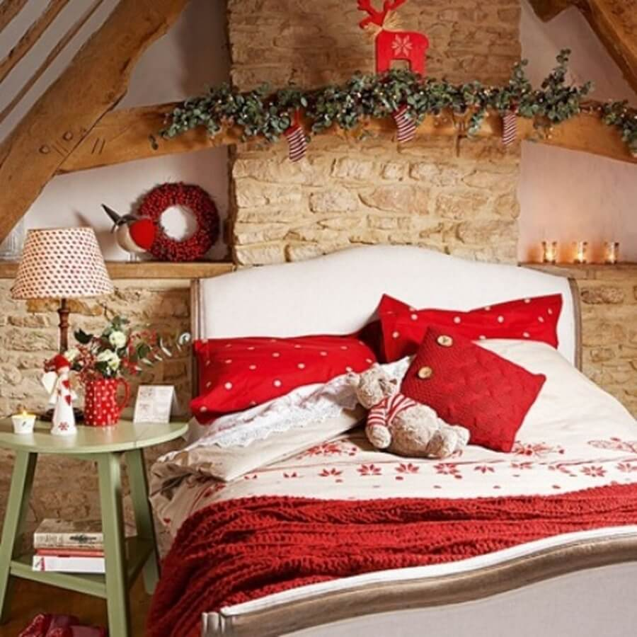 A teenager's bedroom decorated for Christmas