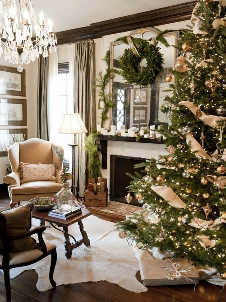 12 most gorgeous and inviting christmas living room decor - Christmas living room decor ...