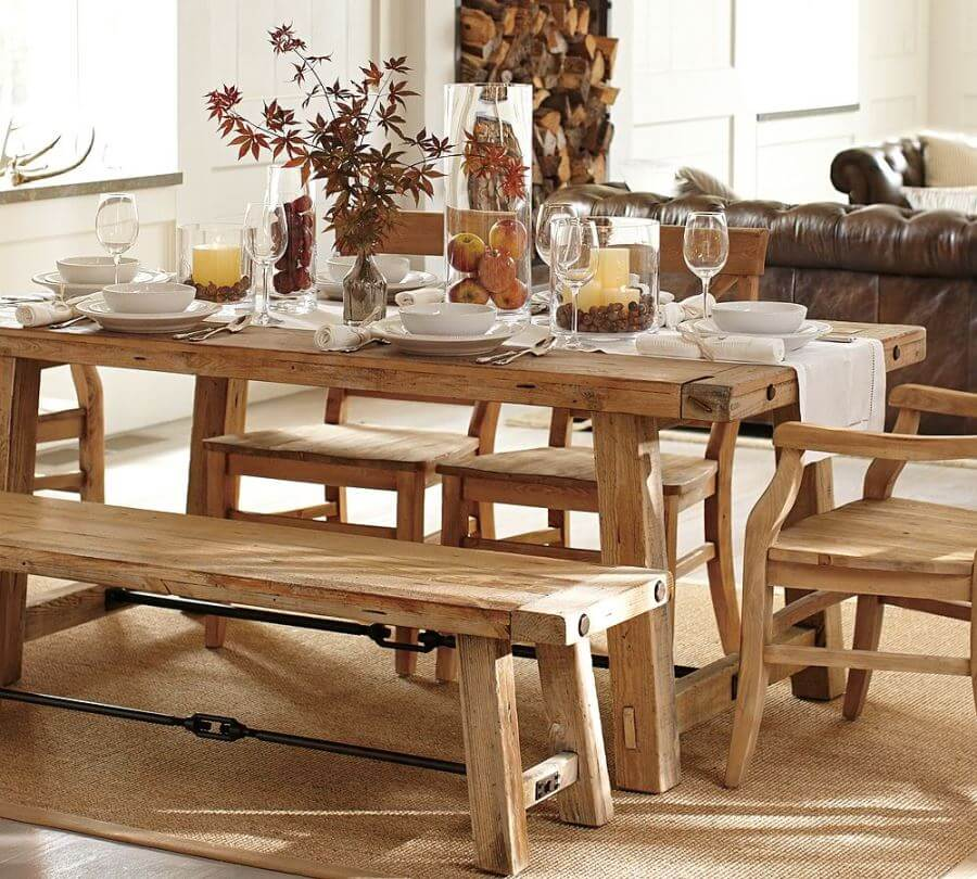 Bright Reclaimed Wood Dining Table
