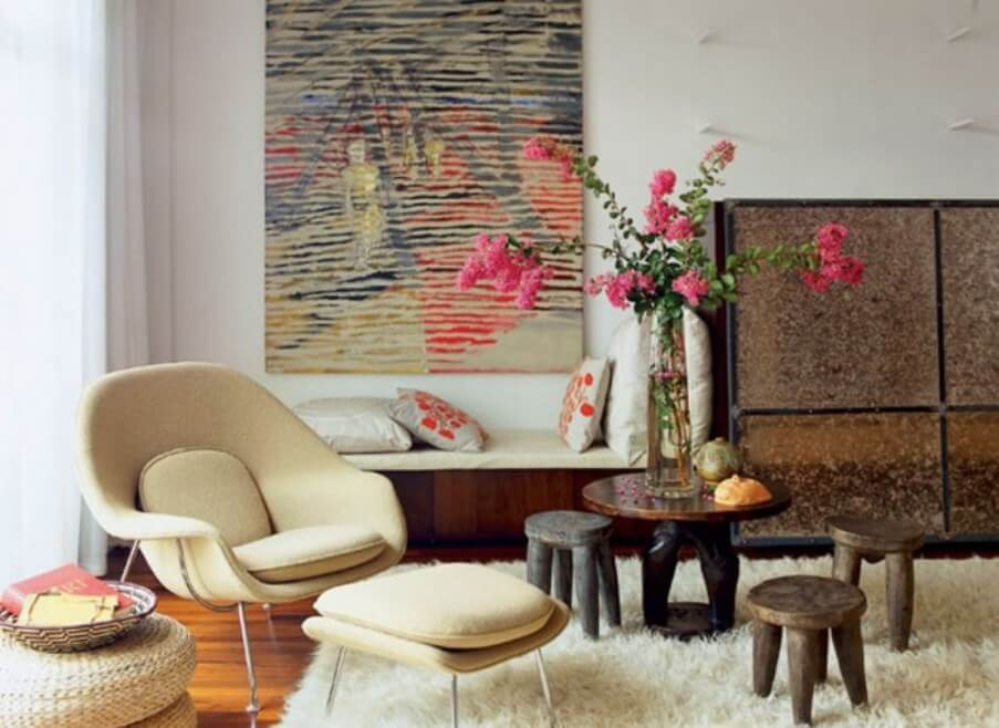 Mid Century Chic Living Room with Flokati Rug