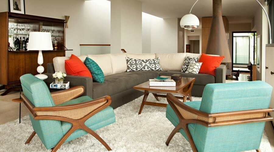Mid Cenutry Modern Living Room with Flokati Rug