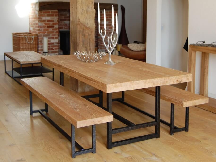 Reclaimed Wood Dining Table with iron