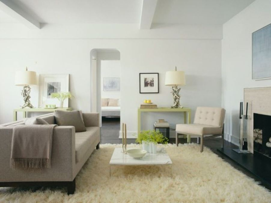 Serene Living Room with Flokati Rug