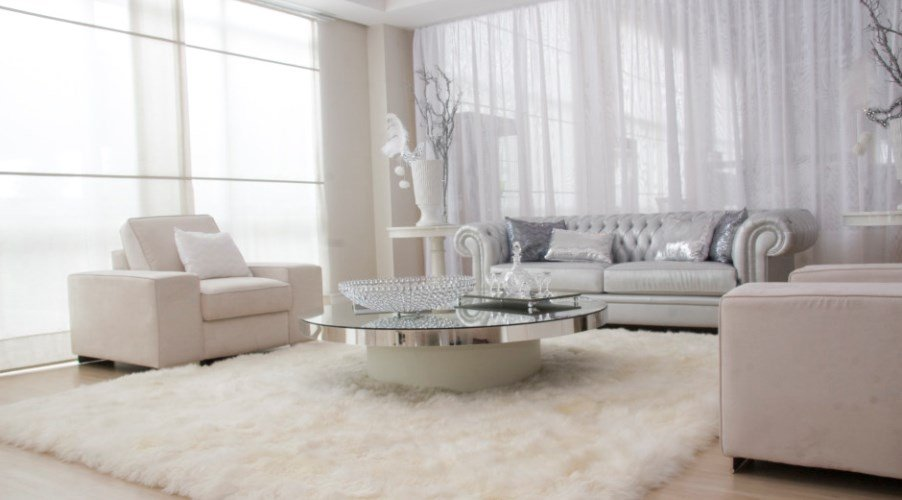 White Living Room with a Soft Flokati Rug