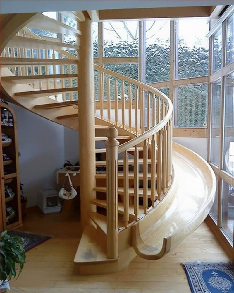Staircase with slide