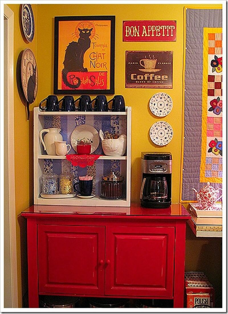 18 stylish home coffee stations for all the coffee lovers for Home bar station