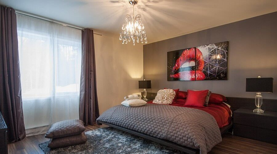 Contemporary Gray and Red Bedroom