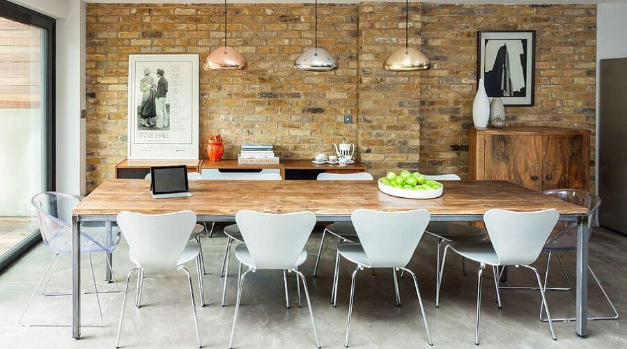 the brick dining room | Exposed Brick Walls In 10 Cool Dining Room Design Ideas ...