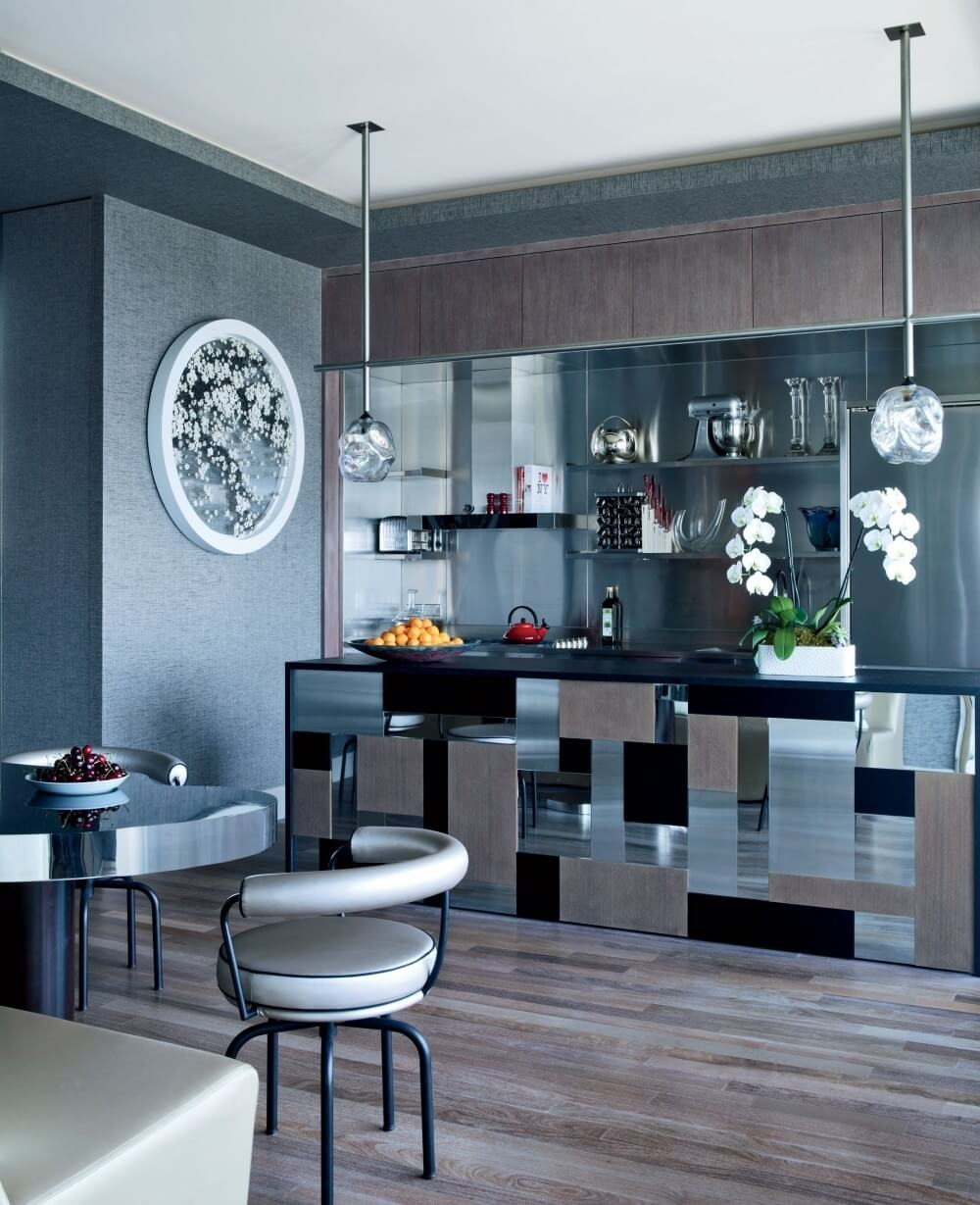 Sleek Kitchen Glass Cabinets