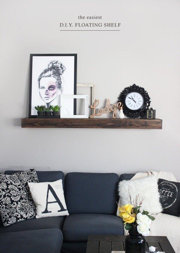 Floating shelves living room