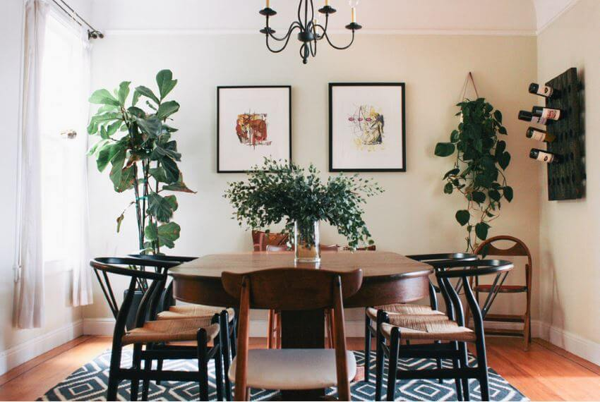 Beautiful dining room with plants