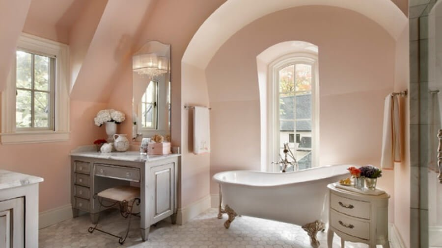 light peach shabby chic bathroom