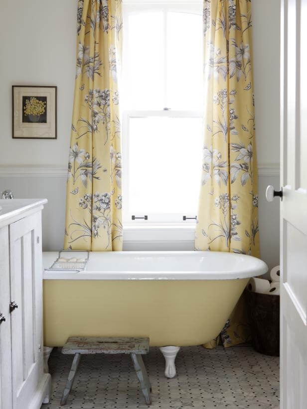 yellow shabby chic bathroom