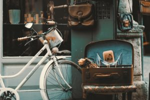 Antique Bicycle and Vintage Chair