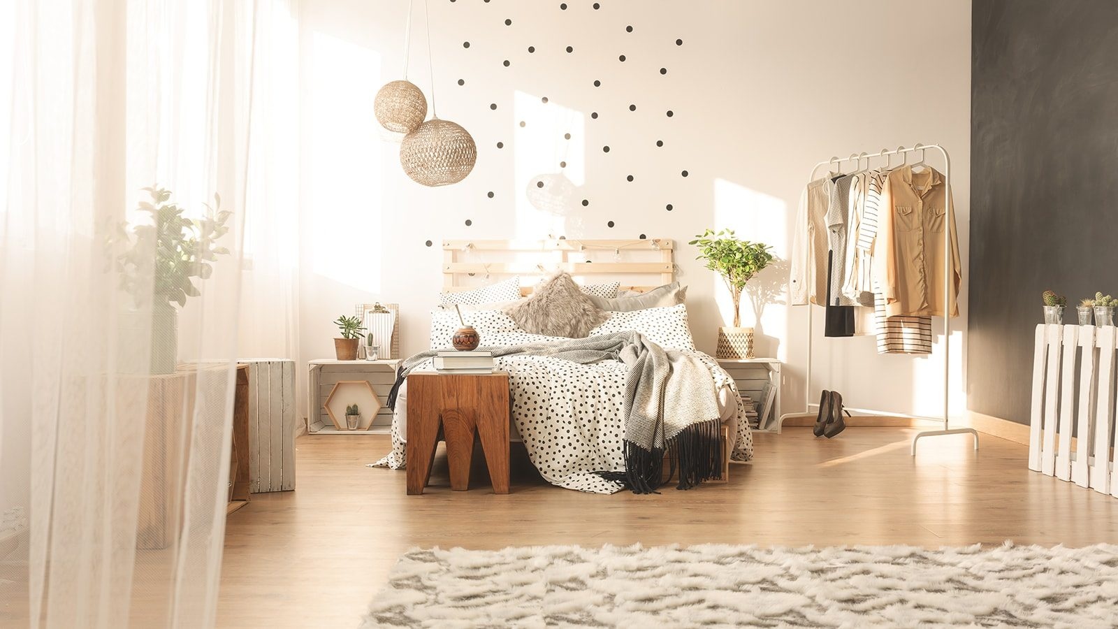Trendy bedroom interior