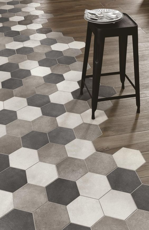 Grey Hexagon Tiles and Wood Floor