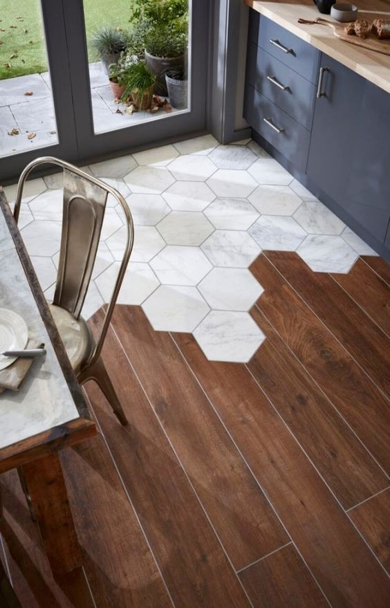 Hexagon Tiles and Wood Floor