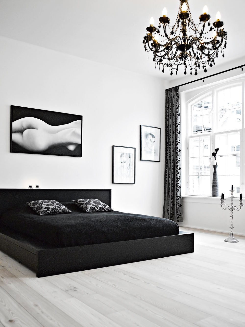 Monochrome Bedroom with Chandelier