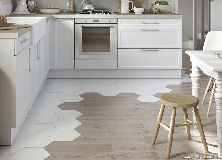 White Hexagon Tiles and Wood Floor