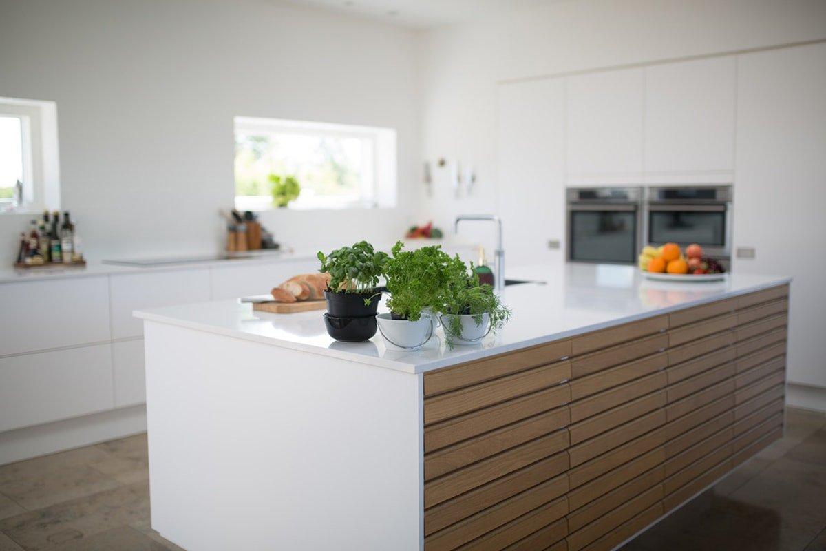 Kitchen island with wood panels