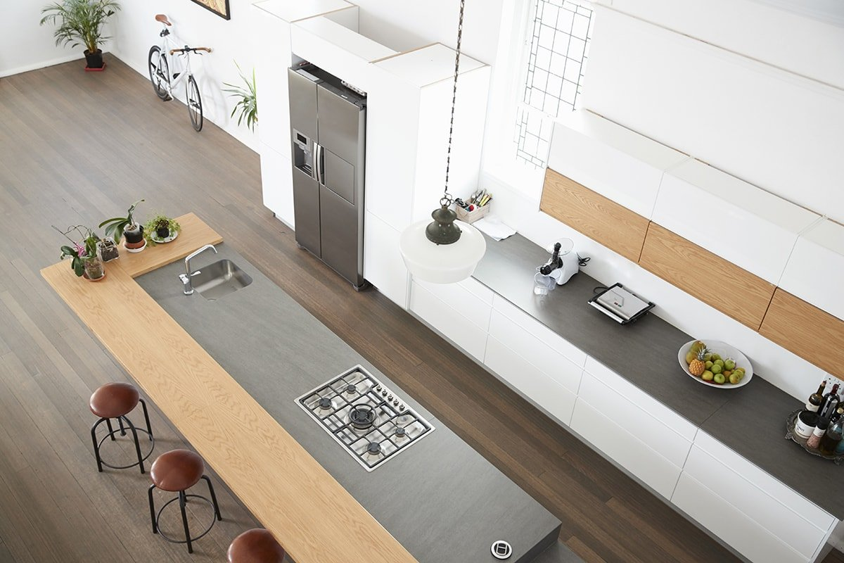 Overhead view of modern kitchen