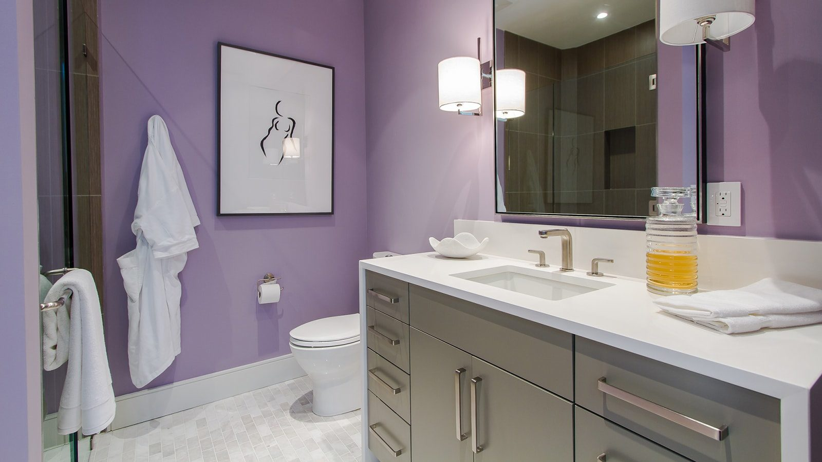 Modern bathroom with purple walls