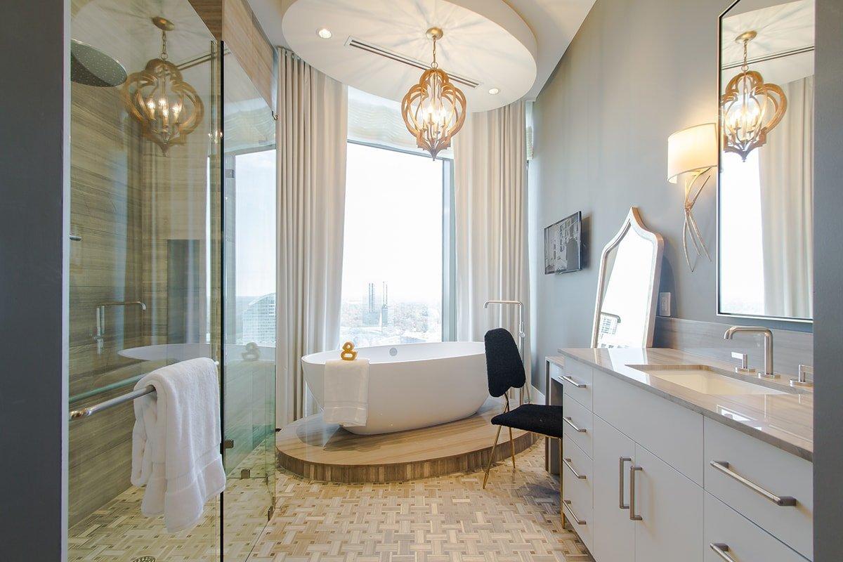 Fancy bathroom with quartz vanity
