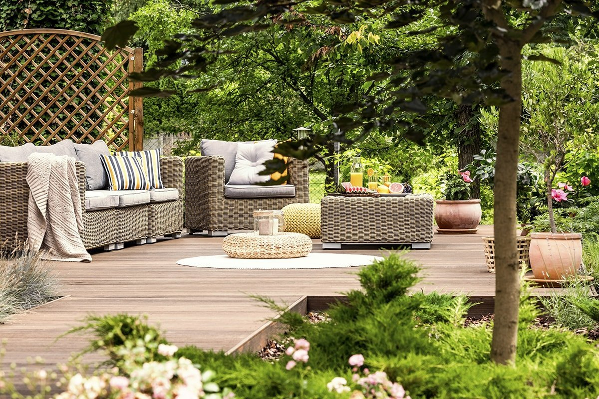 Garden furniture and deck