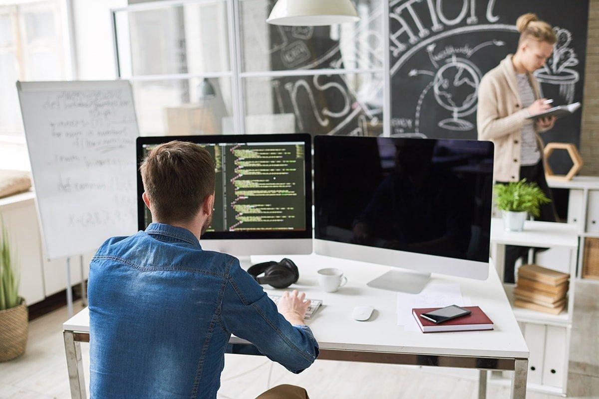 Programmer in modern office