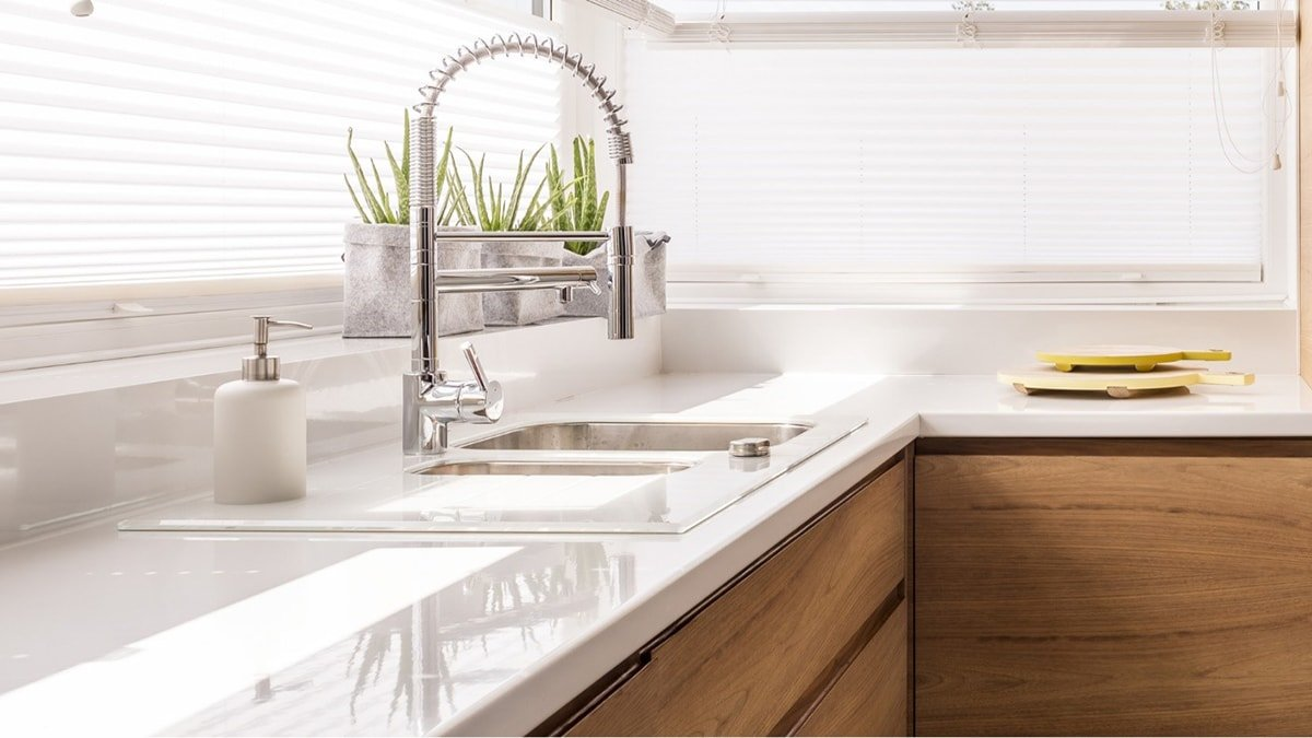 Stone counter tops and bright natural light