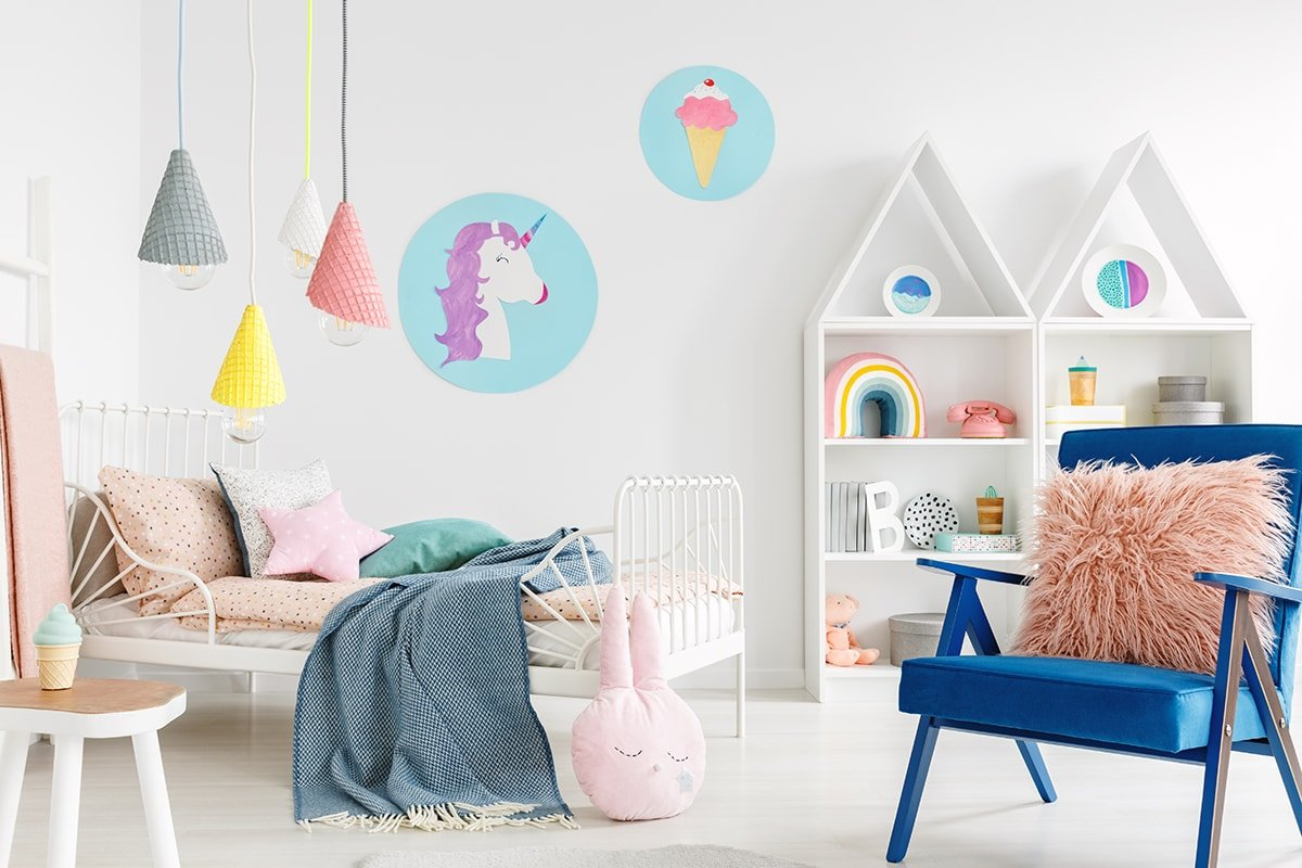 Storage shelves in a kid's bedroom