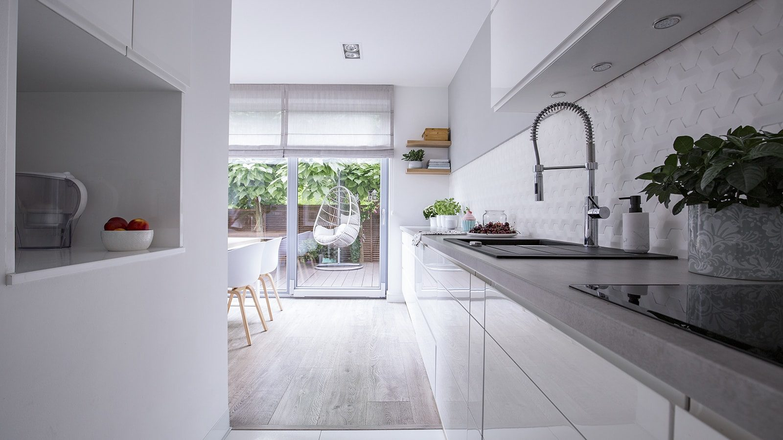 White cabinets in a modern kitchen