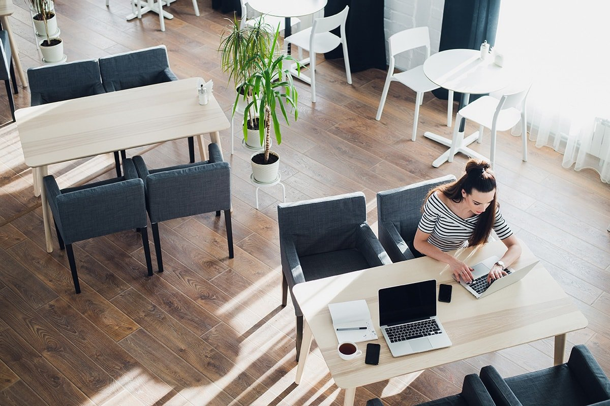 Woman working in an open office