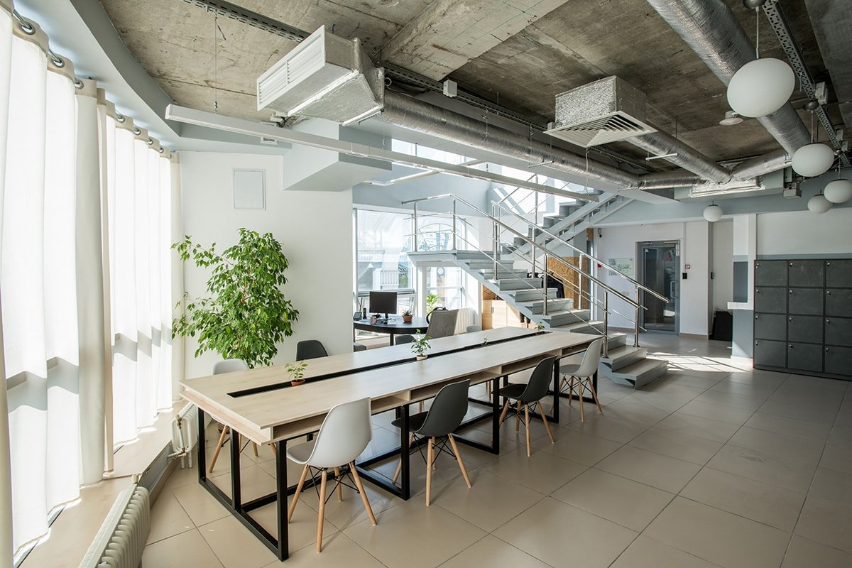 Bright modern office layout