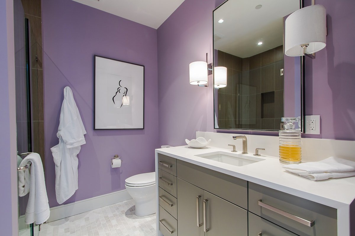 Bathroom with purple color scheme