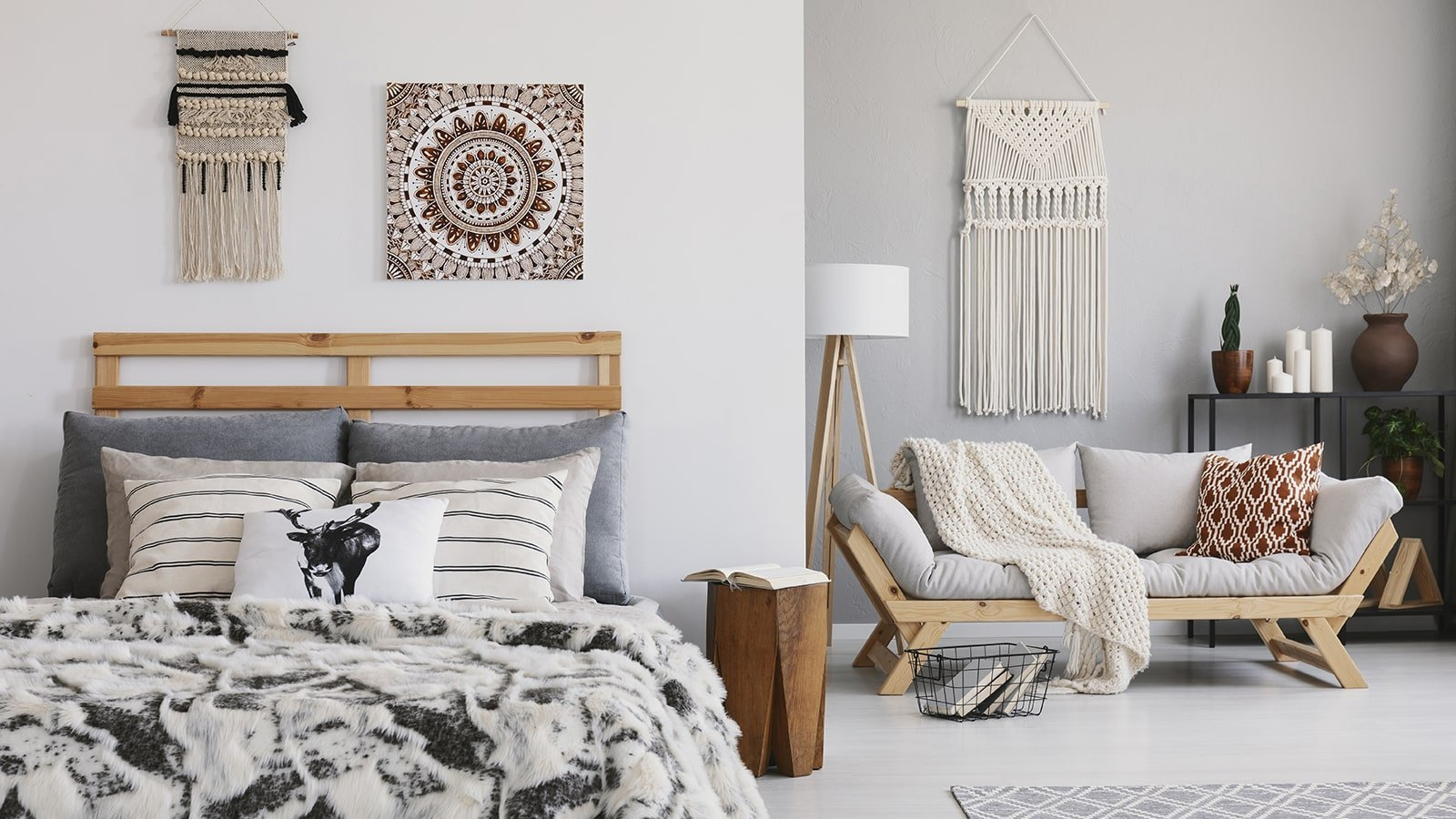 Warm hygge theme bedroom in home with heat pump