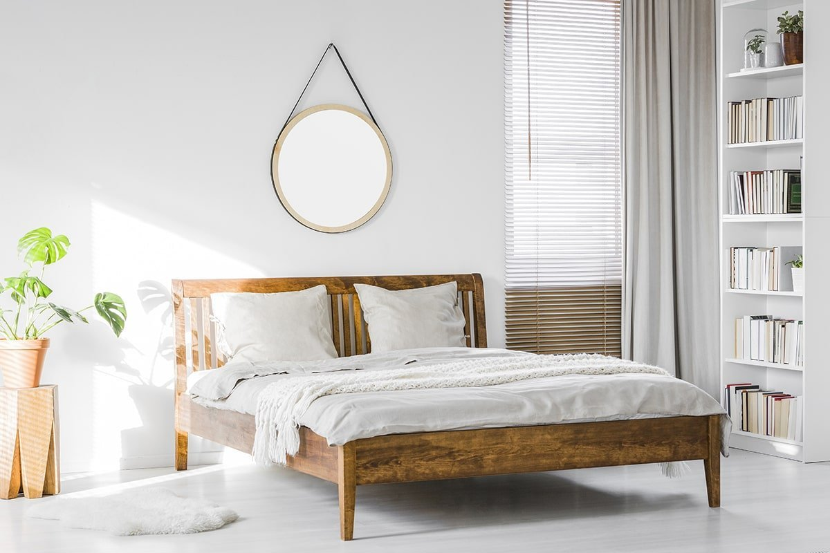 Bedroom with rustic wood bed