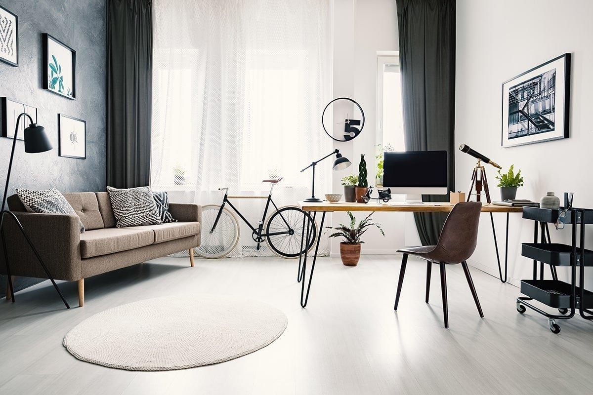 Bright minimalist home office