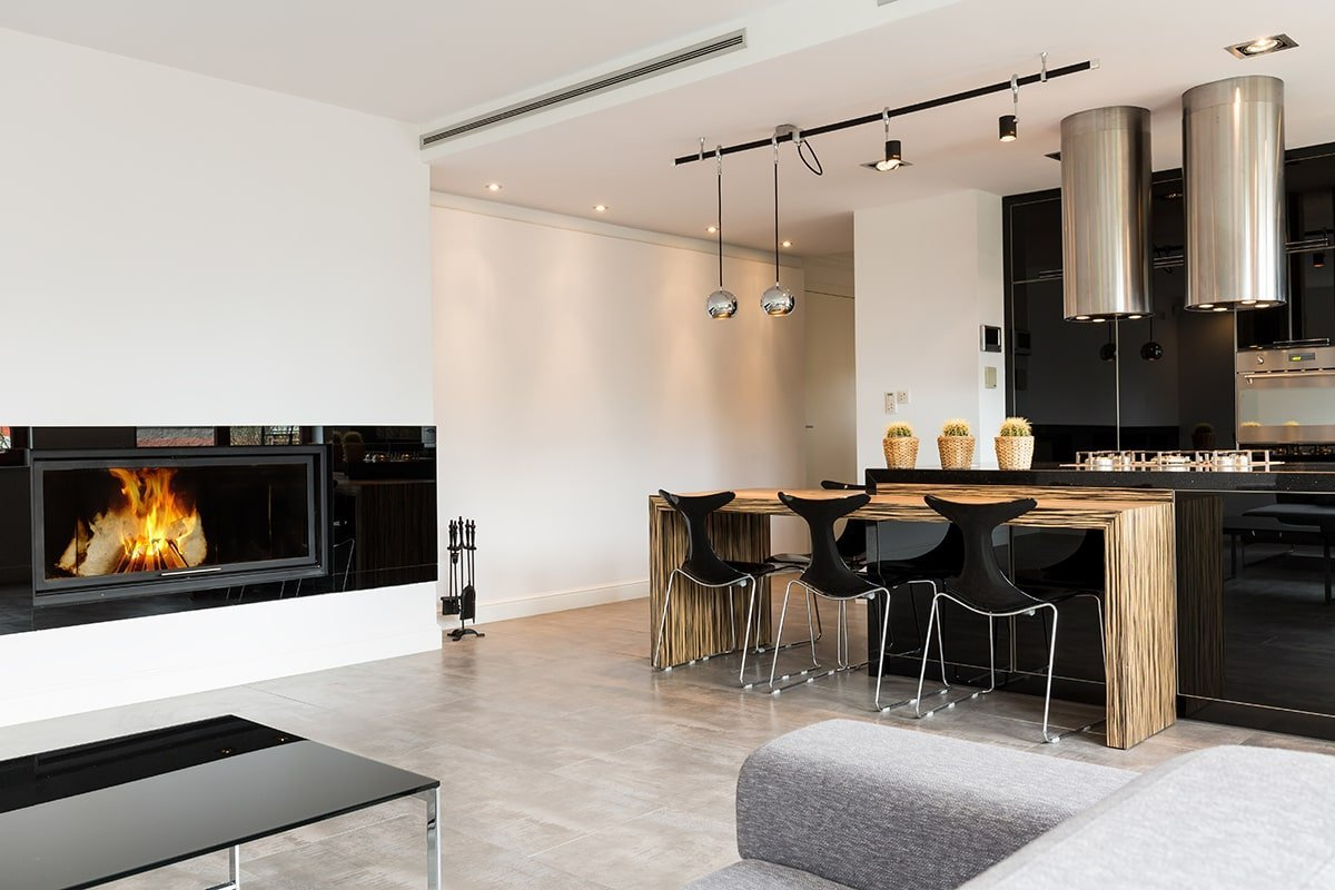 Modern kitchen with wood countertops
